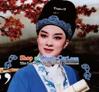 89e058020473a Traditional Chinese Beijing Opera Scholar Young Men Black Hats Peking Opera  Niche Headwear