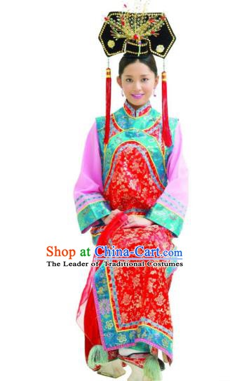 Chinese Ancient Qing Dynasty Princess Replica Costumes Manchu Dress Historical Costume for Women