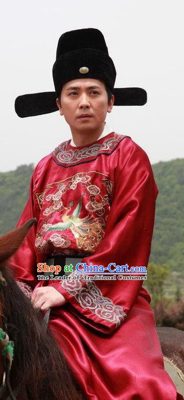 8a3dbf0ba Chinese Ancient Ming Dynasty Magistrate Official Replica Costume Red  Gwanbok for Men