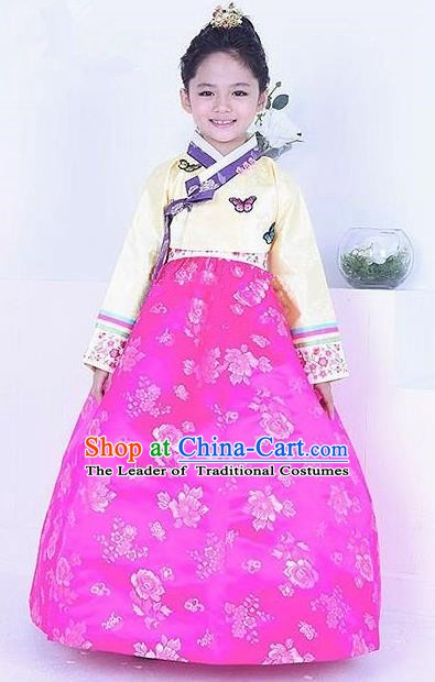 Top Grade Korean Traditional Hanbok Girls Yellow Blouse and Rosy Dress Fashion Apparel Costumes for Kids