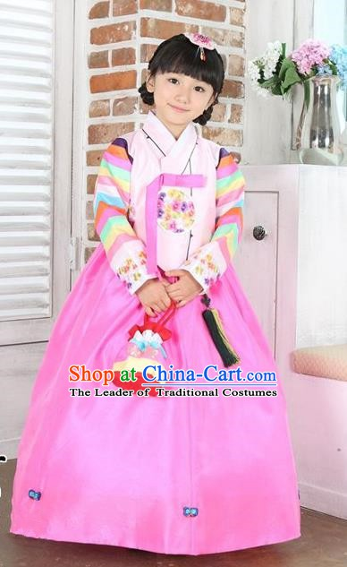 Top Grade Korean Hanbok Traditional Pink Blouse and Dress Fashion Apparel Costumes for Kids