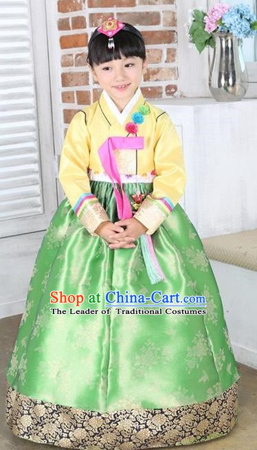 Top Grade Korean Hanbok Traditional Yellow Blouse and Green Dress Fashion Apparel Costumes for Kids