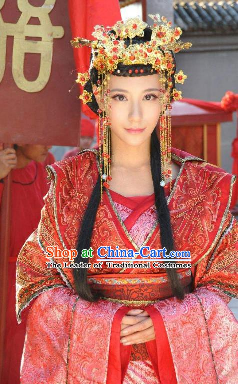 Ancient Chinese Ming Dynasty Imperial Empress of Zhu Youxiao Embroidered Wedding Historical Costume for Women