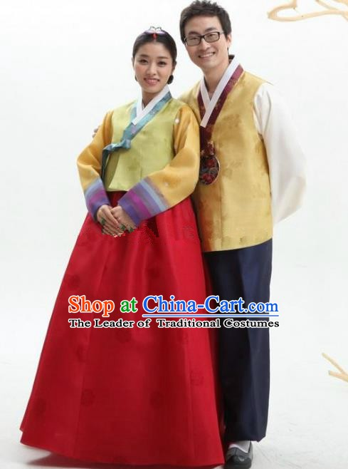 Asian Korean Traditional Wedding Costumes Ancient Korean Hanbok Bride and Bridegroom Costumes Complete Set