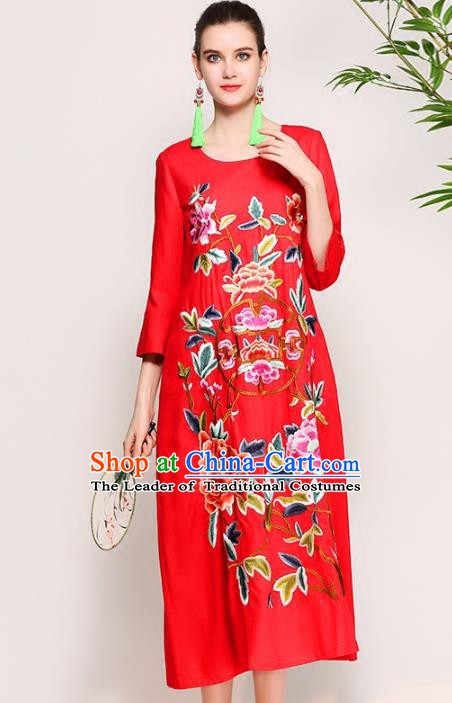 4d0cad744944 Chinese National Costume Tang Suit Qipao Dress Traditional Embroidered Peony  Red Cheongsam for Women