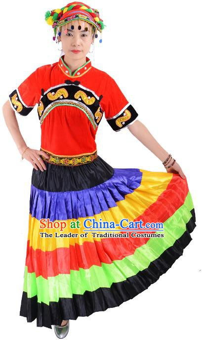 Traditional Chinese Yi Nationality Dance Costume, Female Folk Dance Yi Ethnic Minority Clothing for Women
