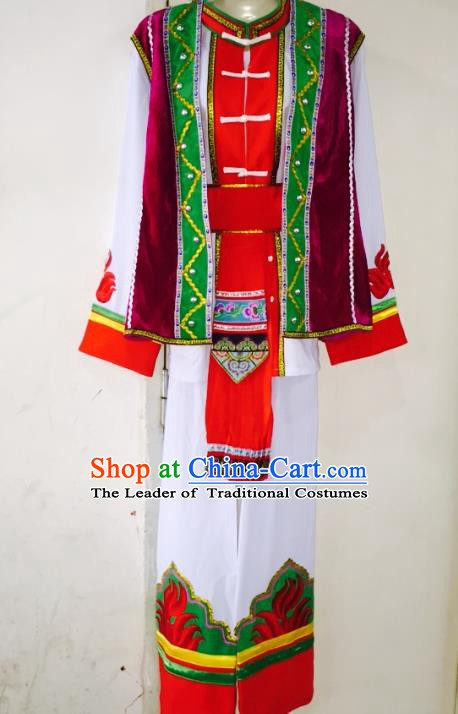Traditional Chinese Yi Nationality Costume Ethnic Folk Dance Clothing Embroidered Clothing for Men