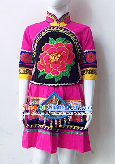 Traditional Chinese Yi Nationality Minority Embroidered Costume Rosy Dress Folk Dance Clothing for Kids