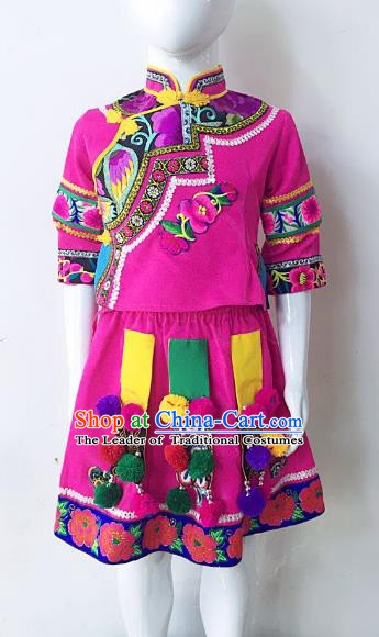 Traditional Chinese Yi Nationality Minority Embroidered Costume Folk Dance Clothing Rosy Dress for Kids