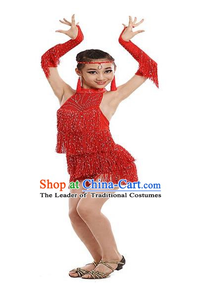 Top Grade Modern Dance Costume, Women Opening Dance Costume Latin Dance Red Dress for Women