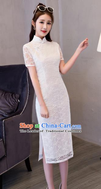 Top Grade Chinese Traditional National Costume Elegant White Lace Cheongsam Qipao Dress for Women
