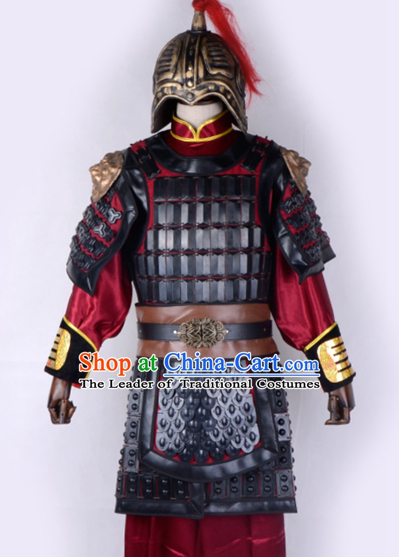Ancient Chinese Folk Legend Character Hua Mulan Armor Costume And Helmet Complete Set