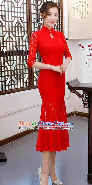 Chinese Traditional Red Lace Mandarin Qipao Dress National Costume Fishtail Cheongsam for Women