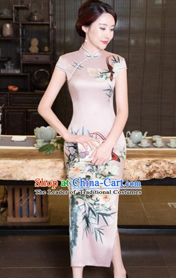Chinese Traditional Tang Suit Printing Flowers Qipao Dress National Costume Pink Silk Mandarin Cheongsam for Women