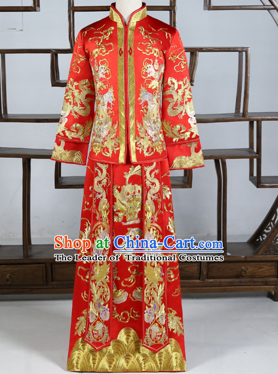 Lucky Red Chinese Traditional Wedding Dresses Ceremonial Clothing China Wedding Dress for Men Bridegroom