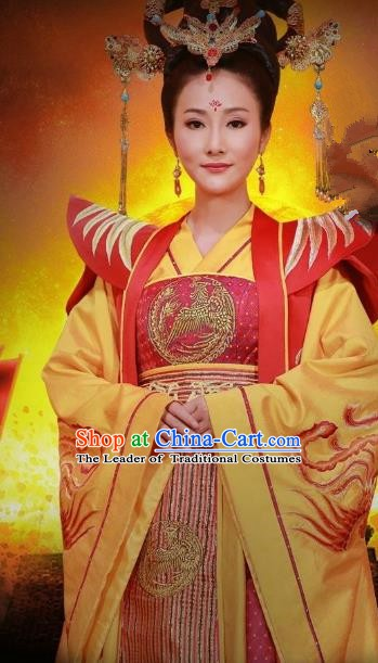 Chinese Ancient Sui Dynasty Queen Embroidered Replica Costume for Women
