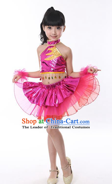 881d6548bda2 Chinese Classical Stage Performance Jazz Dance Costume, Children Modern  Dance Rosy Bubble Dress for Kids
