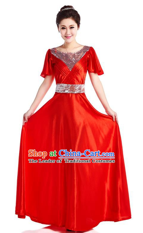 Chinese Classic Stage Performance Chorus Singing Group Costume, Chorus Competition Red Dress for Women