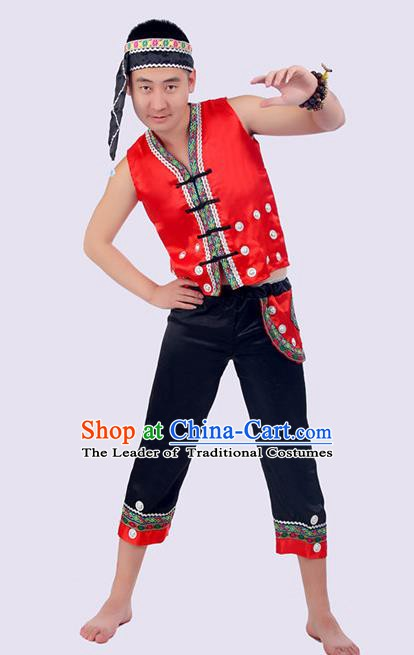 Traditional Chinese Yi Nationality Dance Costume, Yi Minority Nationality Folk Dance Clothing for Men