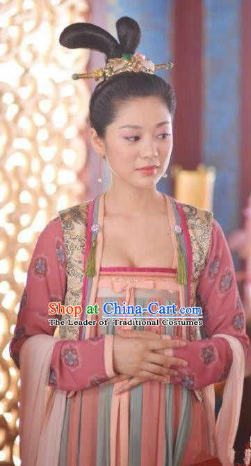 Traditional Chinese Ancient Court Maid Costume, Tang Dynasty Palace Lady Replica Costume for Women