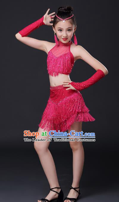 27a6aae188cd Top Grade Stage Performance Jazz Dance Costume, Professional Modern Dance  Rosy Tassel Dress for Kids