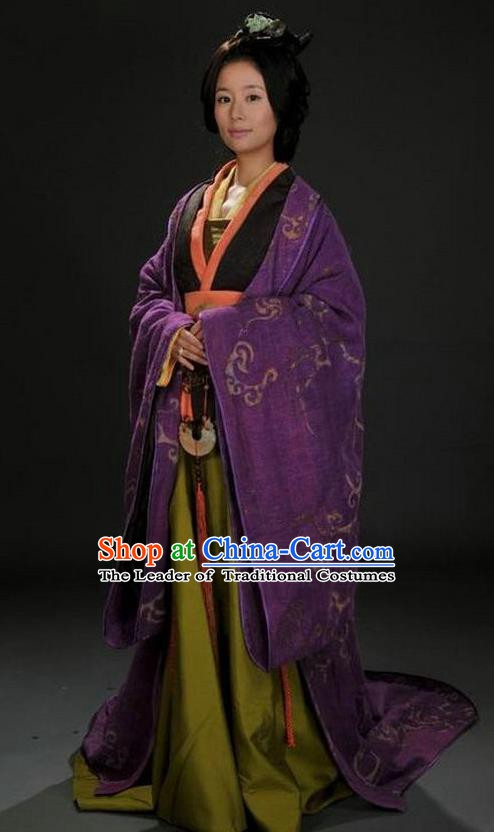 Ancient Chinese Three Kingdoms Period Sun Shangxiang Hanfu Dress Shu Kingdom Duchess Replica Costume for Women