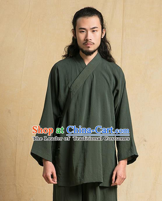 Chinese Kung Fu Green Costume Tang Suits Martial Arts Gongfu Wushu Tai Chi Clothing for Men