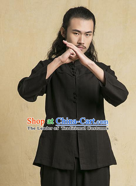 Chinese Kung Fu Martial Arts Black Costume Tang Suits Gongfu Wushu Tai Chi Clothing for Men