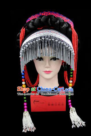 Chinese Traditional Yi Nationality Hair Accessories Yi Ethnic Minority Tassel Rosy Hats Headwear for Women
