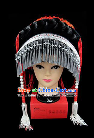 Chinese Traditional Yi Nationality Hair Accessories Yi Ethnic Minority Tassel Red Hats Headwear for Women
