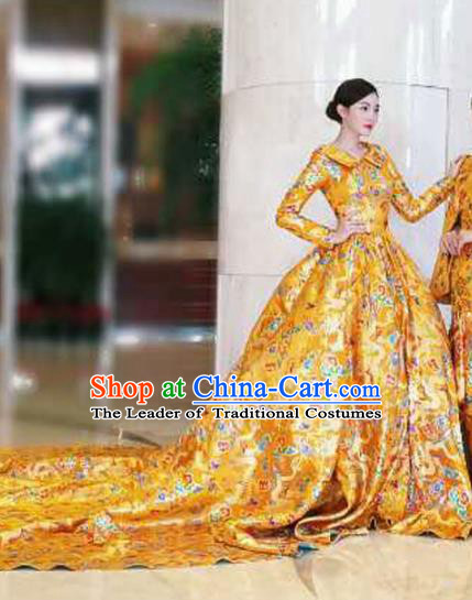 Top Grade Stage Performance Costumes China Style Catwalks Full Dress Modern Fancywork Clothing for Women