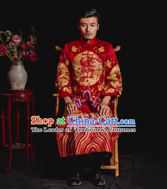 Chinese Traditional Embroidery Wedding Costume China Ancient Bridegroom Tang Suit Embroidered Gown for Men