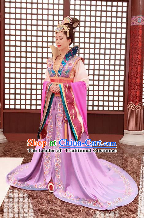 Chinese Ancient Queen Hanfu Dress Tang Dynasty Empress Wang Zhen Embroidered Costumes for Women