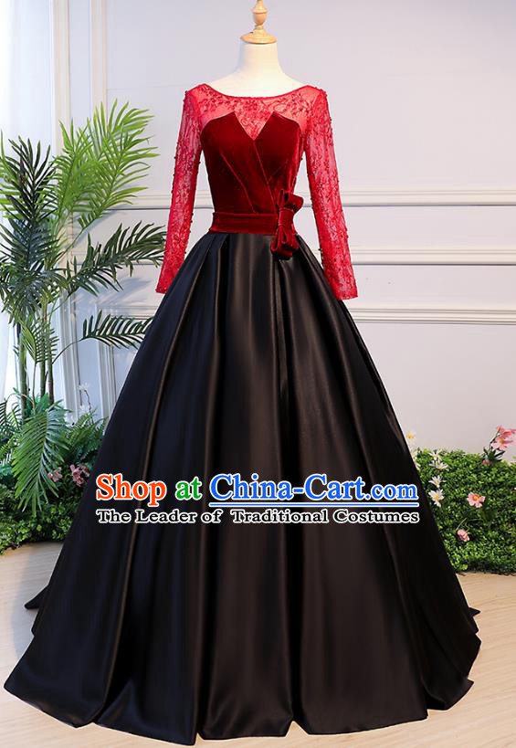 Top Grade Advanced Customization Evening Dress Red Lace Wedding Dress Compere Bridal Full Dress for Women