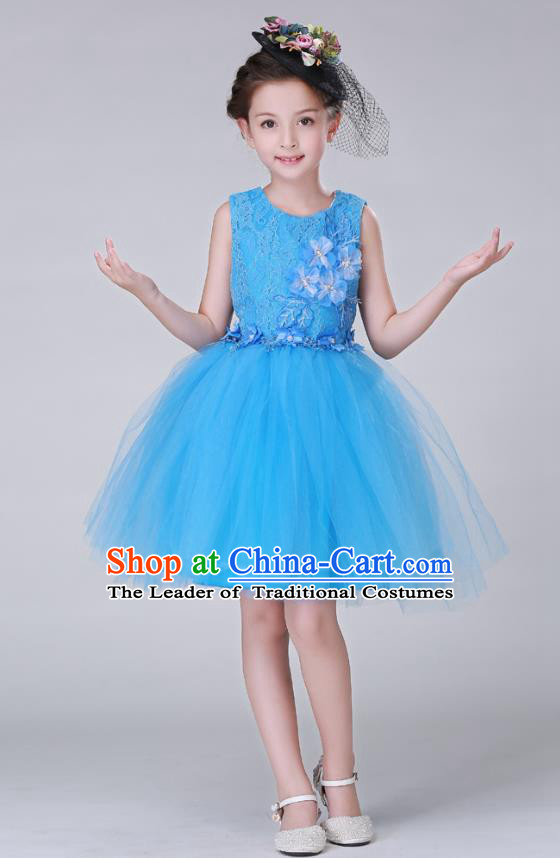 Top Grade Stage Performance Costumes Children Modern Dance Blue Bubble Dress Modern Fancywork Clothing for Kids