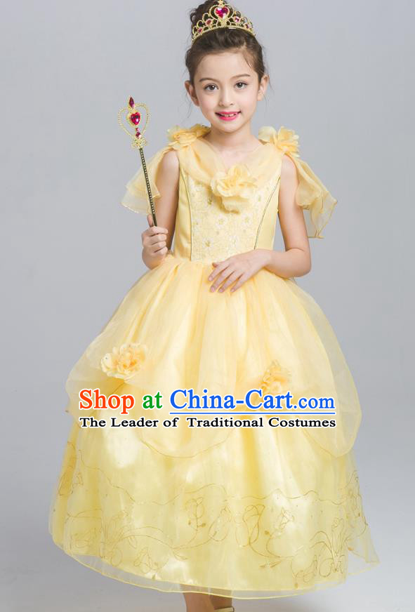 Top Grade Chorus Costumes Stage Performance Princess Yellow Veil Dress Children Modern Dance Clothing for Kids