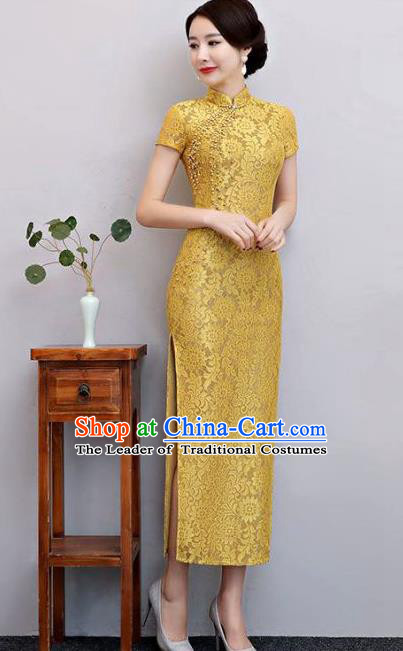 Top Grade Chinese Elegant Yellow Lace Cheongsam Traditional China Tang Suit Qipao Dress for Women