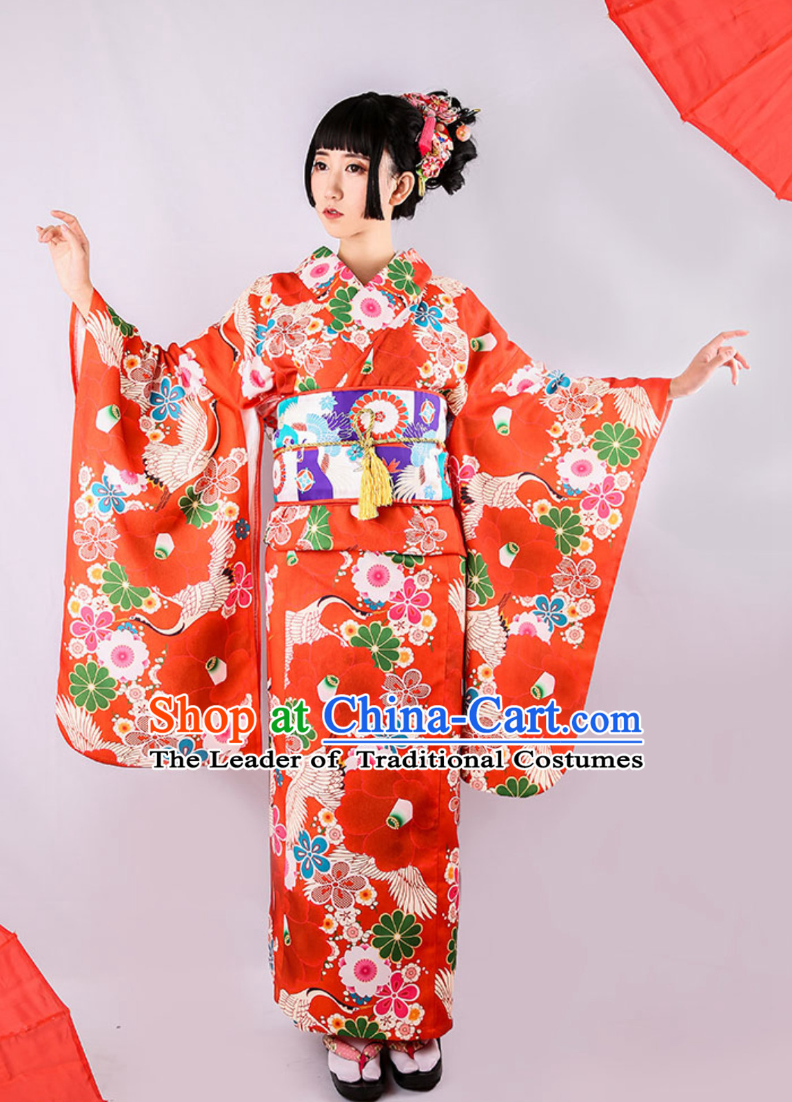 Japanese Kimono Traditional Japanese Garment Clothing and Accessories Complete Set
