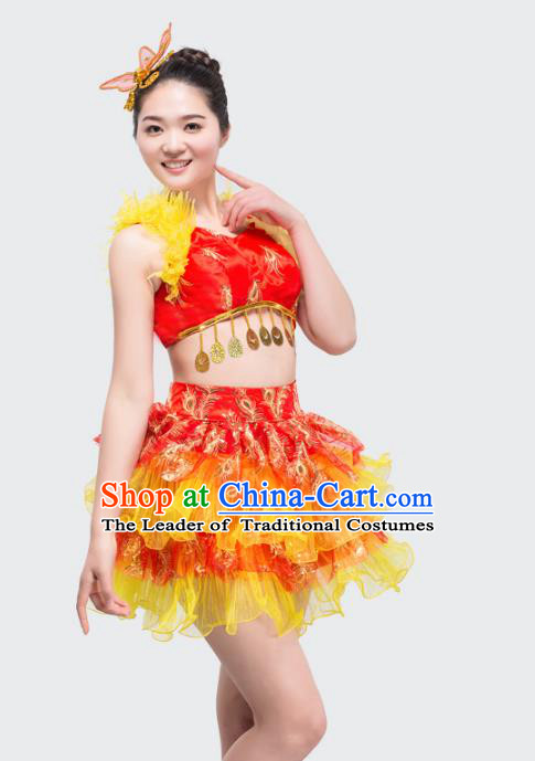 bf6e0546383c Top Grade Stage Performance Jazz Dance Costume Chorus Modern Dance Red  Bubble Dress for Women