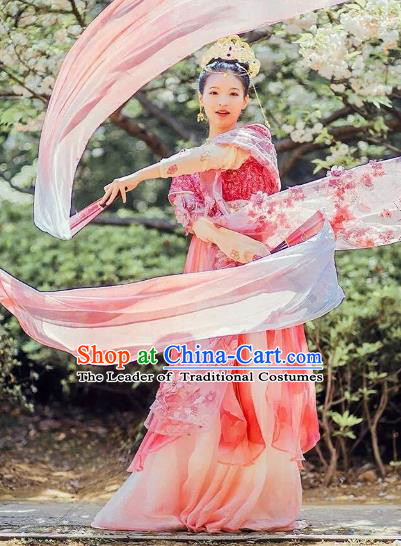 445dcbde8 Chinese Ancient Palace Lady Dance Costume Traditional Tang Dynasty Imperial  Concubine Embroidered Hanfu Dress for Women