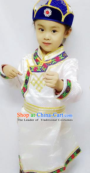 Chinese Mongol Nationality Costume Boy White Mongolian Robe Traditional Mongolian Minority Clothing for Kids