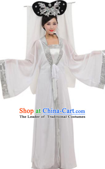Traditional Chinese Ancient Fairy Costume Song Dynasty Madam White Snake Historical Clothing and Headpiece Complete Set