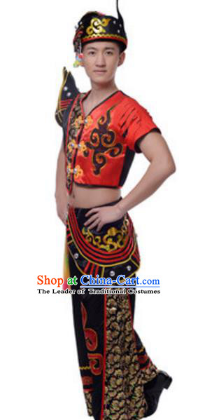 Traditional Chinese Yi Nationality Ethnic Clothing, China Yi Minority Folk Dance Costume and Hat for Men