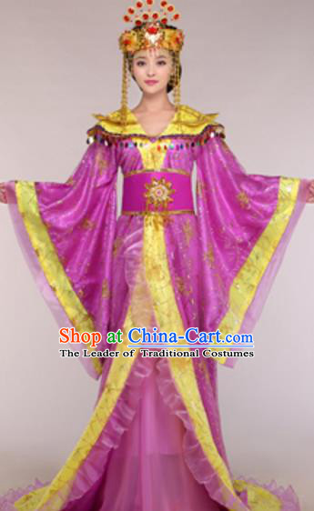 Traditional Chinese Ancient Queen Purple Costume Tang Dynasty Empress Historical Clothing and Headpiece Complete Set