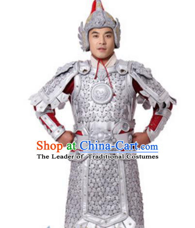 Chinese Ancient Soldier Costume Han Dynasty General Historical Body Armor and Helmet Complete Set