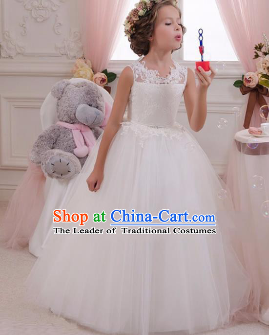 432b8ced990c Children Models Show Compere Costume Stage Performance Catwalks White Lace  Veil Full Dress for Kids
