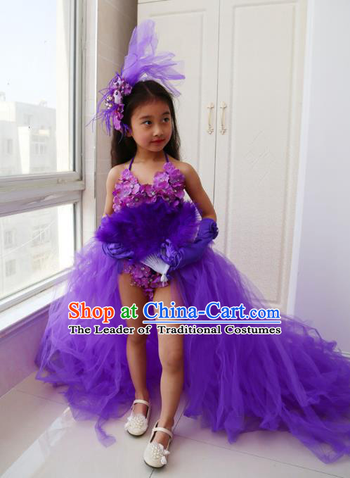 21089b1e82 Children Models Show Costume Catwalks Stage Performance Purple Dress and  Hat for Kids