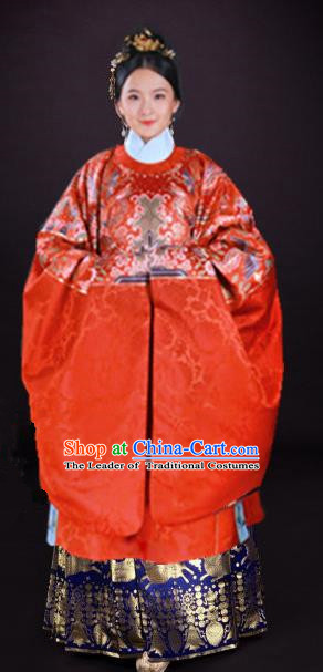 Chinese Ming Dynasty Empress Embroidered Costume Ancient Queen Hanfu Dress for Women