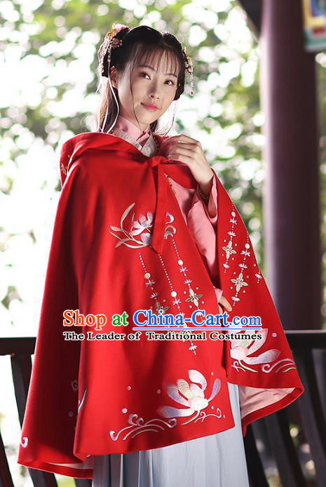 656592d2445 Ancient Chinese Ming Dynasty Princess Costume Embroidered Red Cloak for  Women