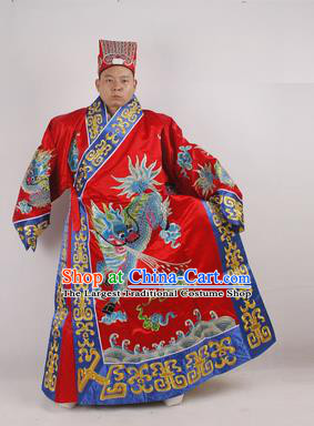 Professional Chinese Peking Opera Minister Costume Beijing Opera Embroidered Kylin Red Robe for Adults